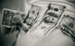 Money on bride gown