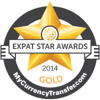 Gold Winner - MyCurrencyTransfer.com's Expat Stars Awards 2014